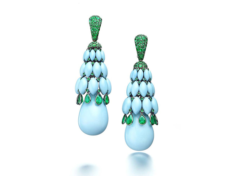 De Grisogono Melody of colors earrings mounted on white gold with turquoise and emeralds