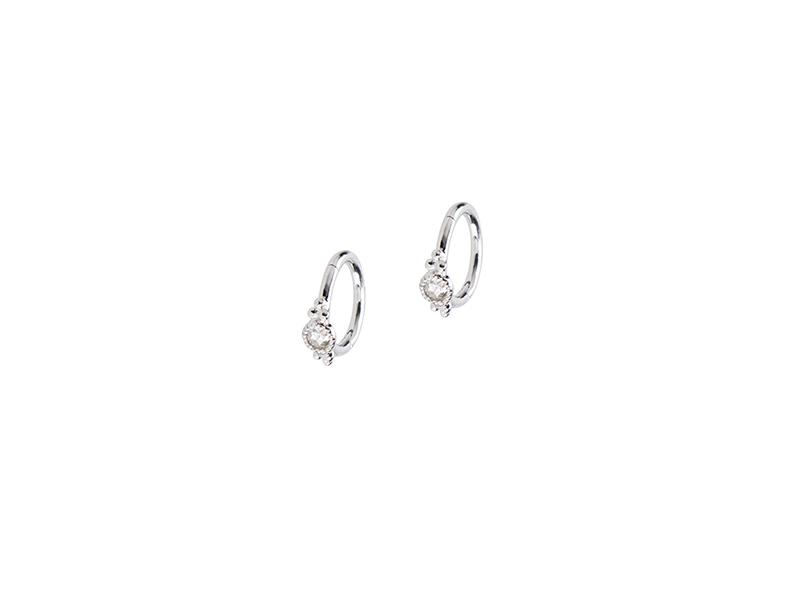De Jaegher Sunny bubbles earrings mounted on white gold with white diamonds - 380 €
