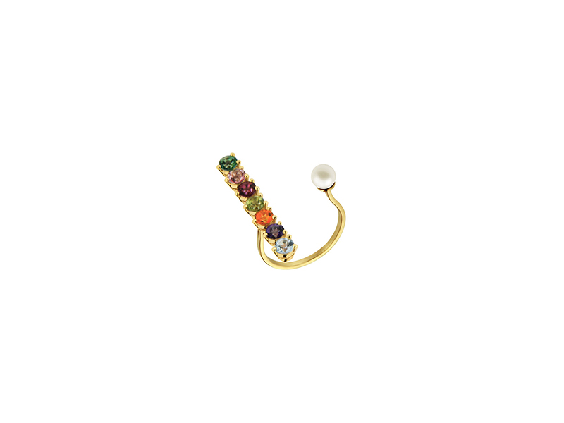 Delfina Delettrez Gold vein ring collection 9k gold 6 multicolor topazes and 1peridot 530 €