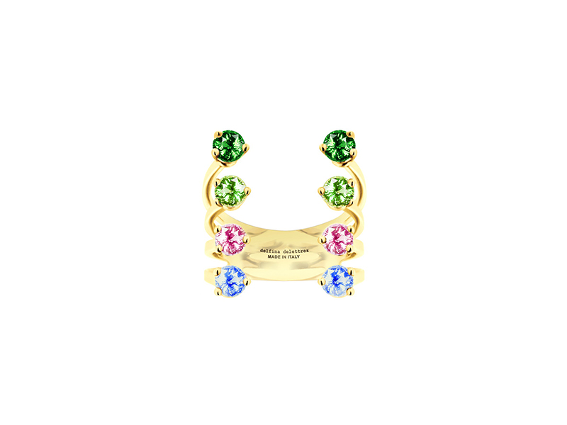 Delfina Delettrez Multicolor dots ring collection 9kt gold 6 multicolor topazes and 2 peridots 1050 €