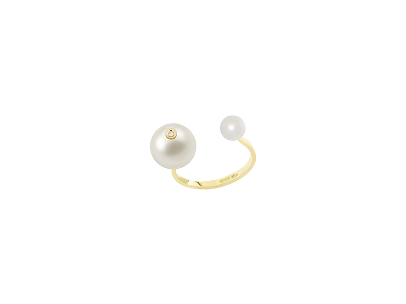 Delfina Delettrez Pearl piercing ring collection 18kt one white diamond with pearls 800€