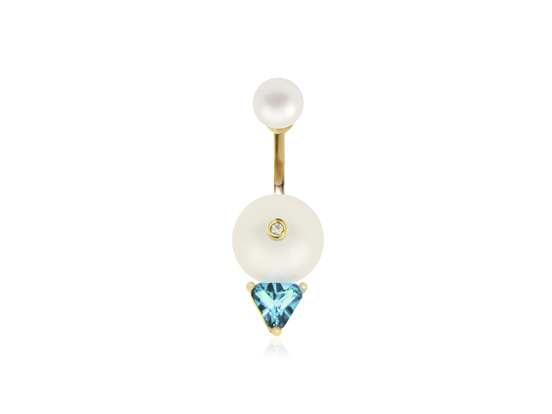 Delfina Delettrez Trillion earring mounted on yellow gold with white diamond freshwater pearls and trilight topaz 900 €