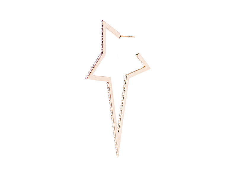 Diane Kordas Diamond Large Star Earring mounted on rose gold with white diamonds 2964 £