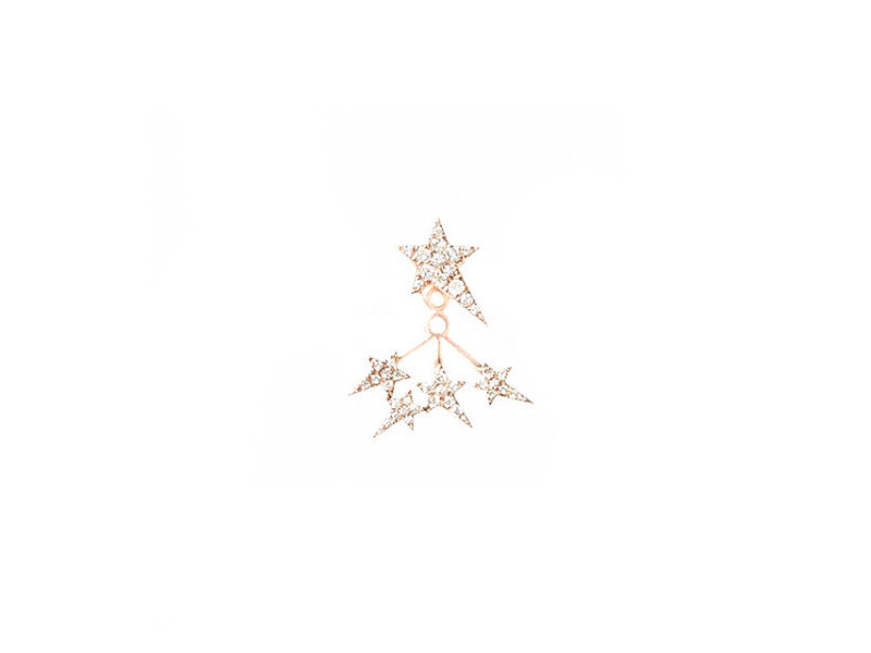 Diane Kordas White diamonds star ear jacket mounted on rose gold with white diamonds - 1342  £