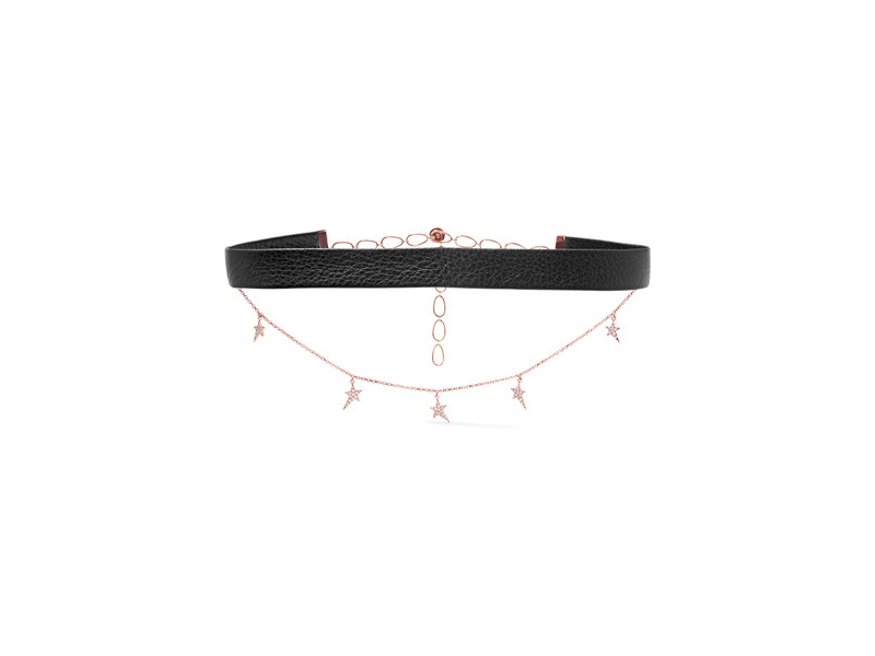 Diane Kordas Choker mounted on rose gold and leather with diamonds 3'010 £