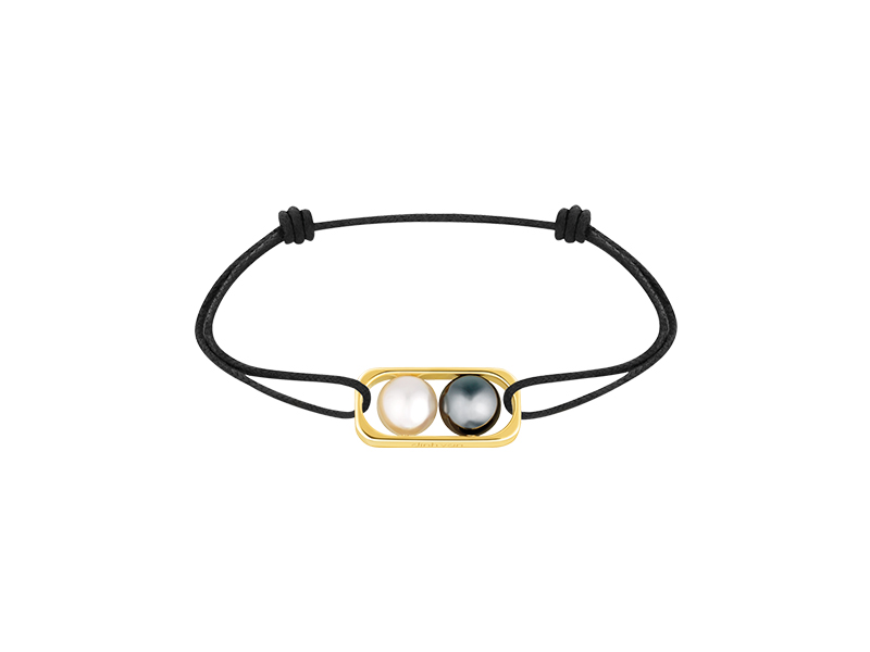 Dinh Van 2 pearls collection bracelet mounted yellow gold with fresh water and hematite pearls