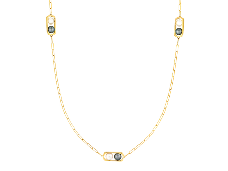 Dinh Van 2 pearls collection mounted on yellow gold freshwater and hematite pearls