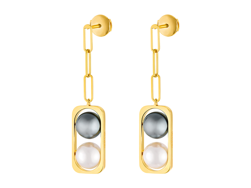 Dinh Van 2 perles collection yellow gold tahitian Akoya pearls