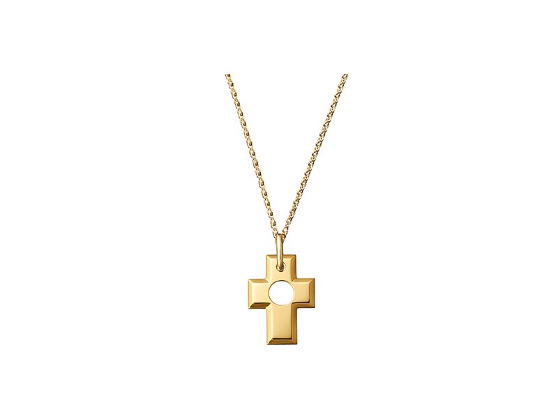 Dinh Van Pierced cross pendant yellow gold cross