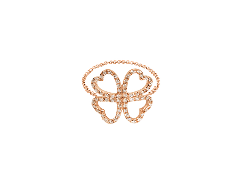 Djula Clover gold and diamonds chain ring mounted on rose gold 1140 $
