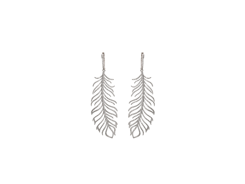 Djula Feather gold and white diamond earrings 13674 $