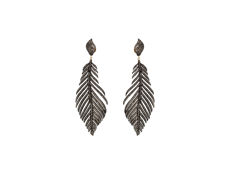 Djula Feather vintage silver and diamonds rose cut feather 3795 €