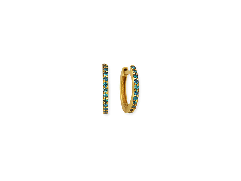 Dominique Cohen Huggie hoop earrings mounted on yellow gold with blue diamonds - 900 $