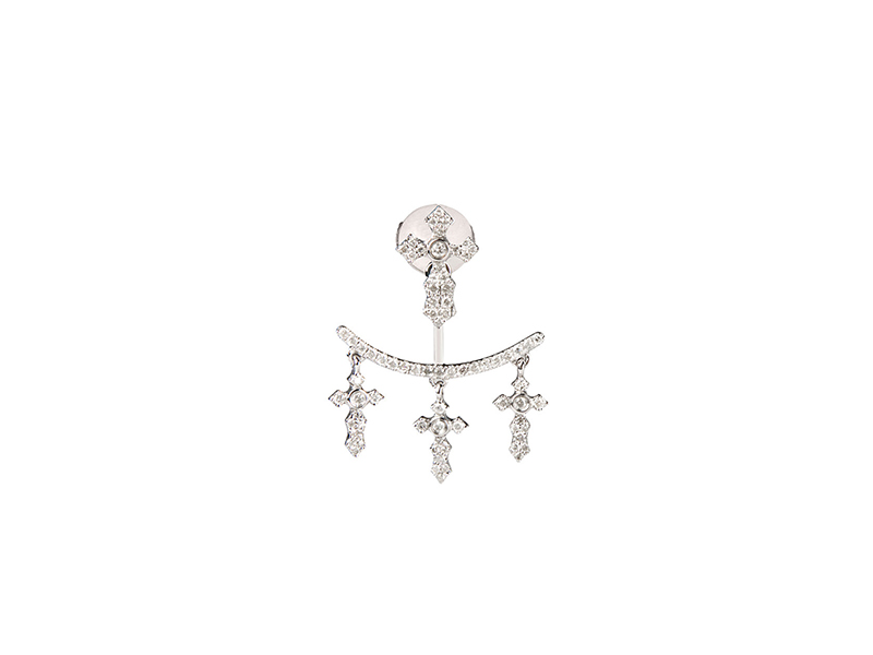 Elise Dray White gold with grey diamonds earrings cross 1225 €