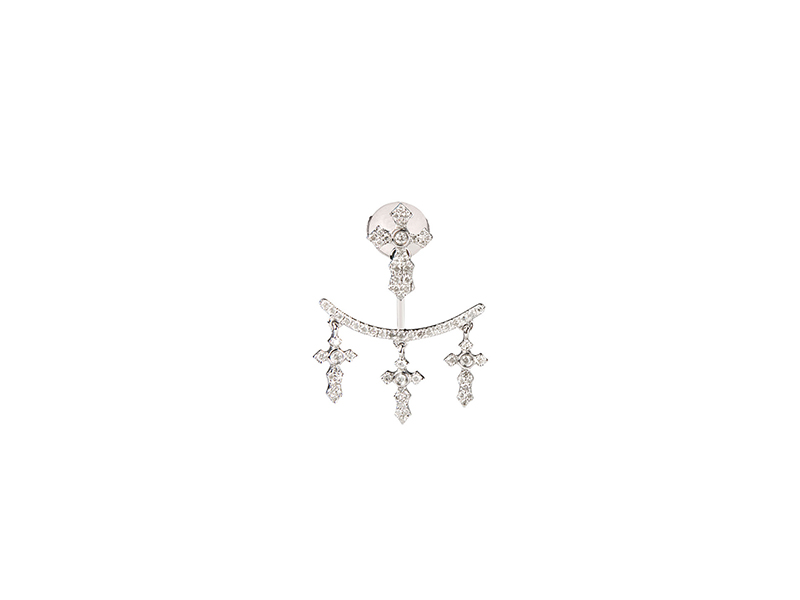 Elise Dray White gold and grey diamonds invisible crosses earrings - 1'225 €
