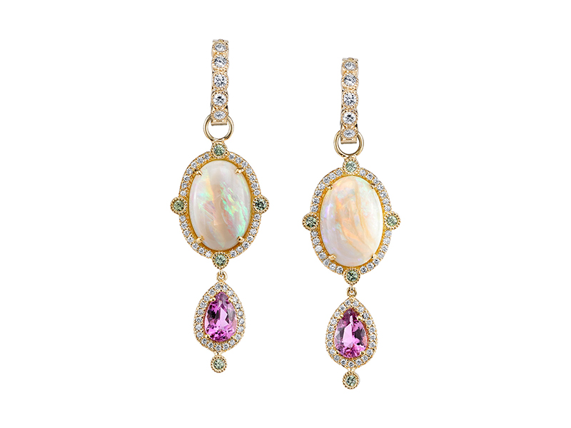 Erica Courtney Opals tourmalines and diamonds earrings 22'400 $