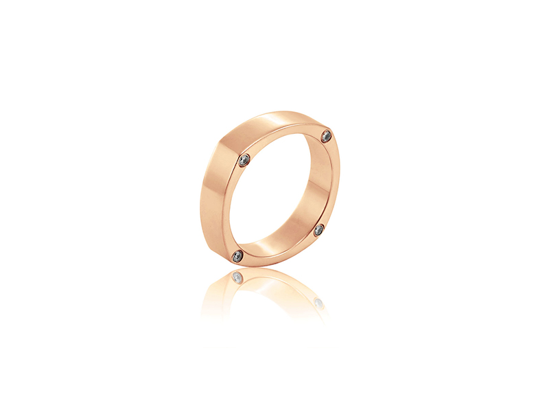 Eternal by Mondial Abellio ring mounted on rose gold with diamonds 2100 $