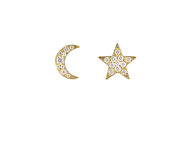Finn Star & moon stud set mounted on yellow gold with diamonds 1'300 $