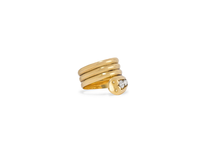 Fred Leighton  victorian ring in yellow gold diamonds 7098 €