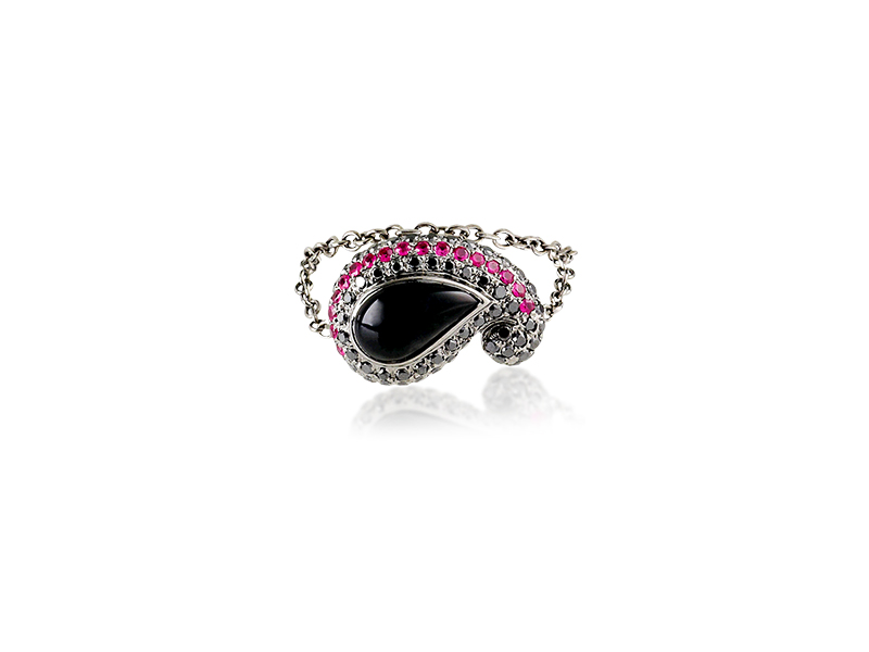 Gaydamak kashmir chain with black Diamond, Onyx and Rubies