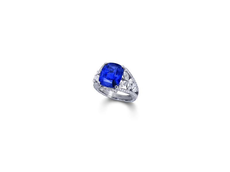 Graff Cushion Cut Sapphire Ring