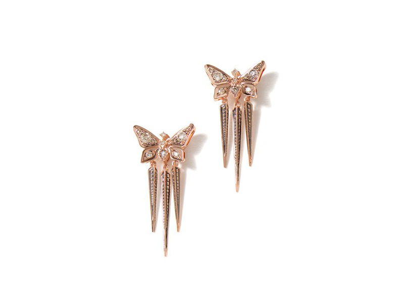 H.Stern Rock season collection rose gold diamonds earrings butterfly