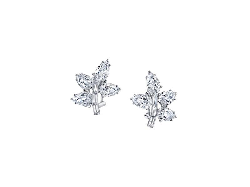 Harry Kotlar Baguette-cut diamond petal earrings mounted on white gold