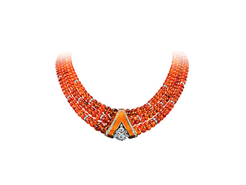Henn of London Mandarin garnet bead choker