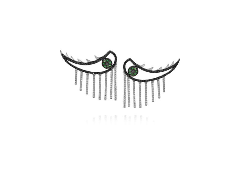 Ileana Makri Weeping Eyes white gold diamond and tsavorite 8343€