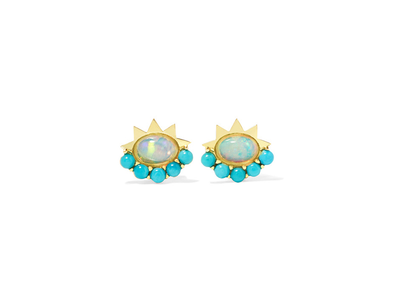Ileana Makri Blue Sun Ear Y-Opal-Turq mounted on yellow gold with opal and turquoise 865 €
