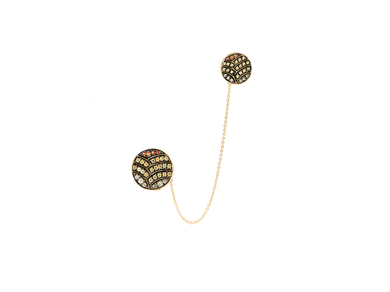 Ileana Makri Deco life cuff earring yellow gold with orange,yellow, and green sapphires 2165 €