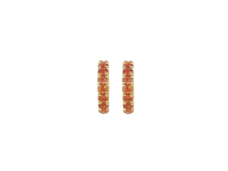 Ileana Makri Mini hoops mounted on yellow gold with orange sapphires
