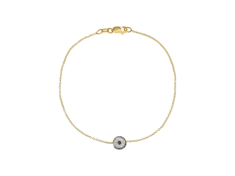 Ileana Makri Rose gold with diamonds and saphirs leda eye bracelet