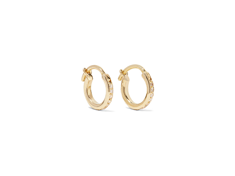 Ileana Makri Yellow gold diamond hoop earrings - 951 €
