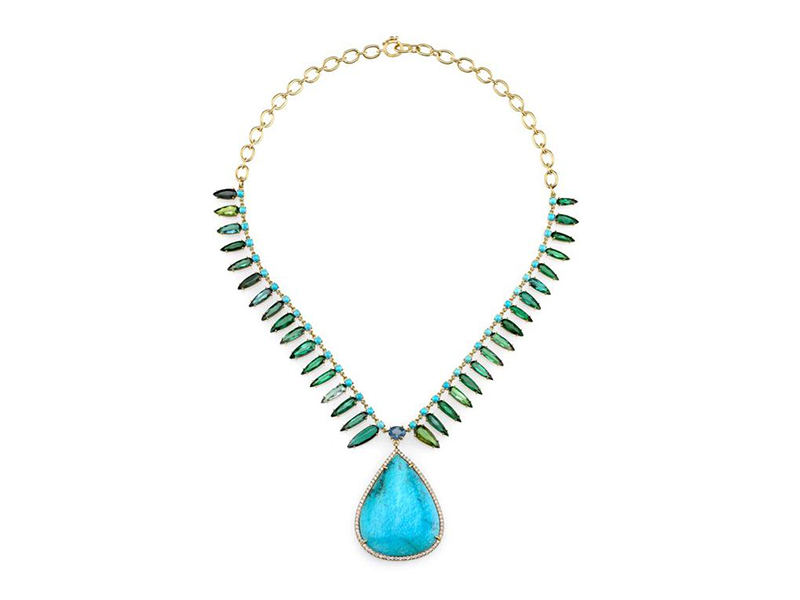 Irene Neuwirth One-of-a-kind neckalce mounted on yellow gold with turquoise, green tourmaline, fine aquamarine and diamonds