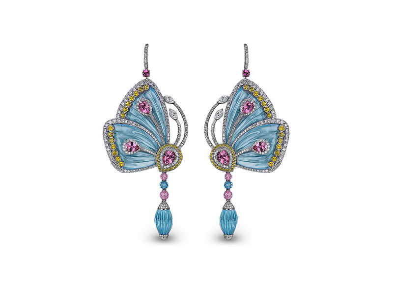 Jacob & Co 18ct white gold papillon butterfly earrings