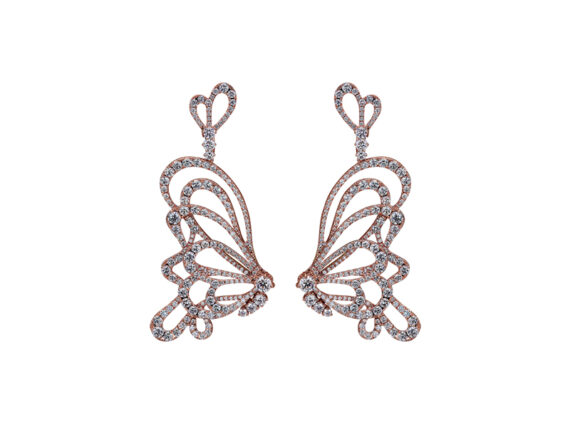 Jacob & Co. Papillon Diamond Earrings mounted on rose gold with white diamonds