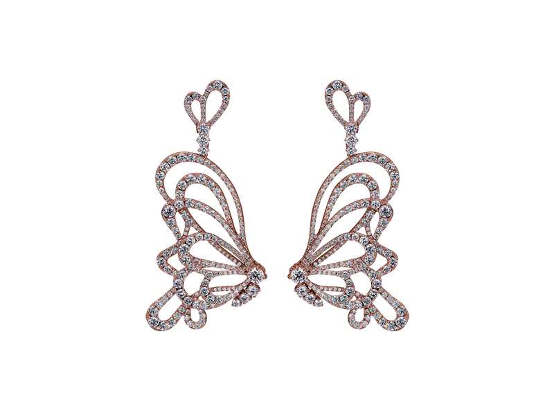 Jacob & Co Papillon diamonds earrings mounted on rose gold with paved white diamonds
