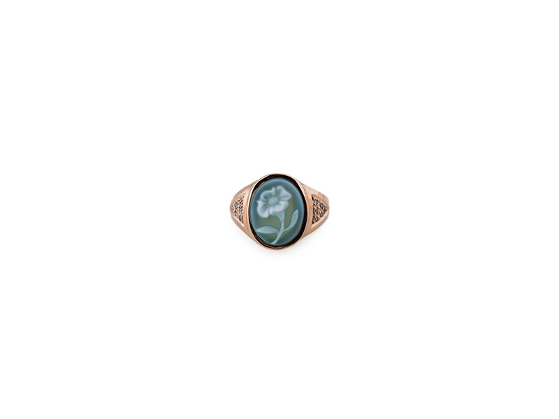Jacquie Aiche Carved agate green daisy cameo ring mounted on 14k rose gold 2250 $