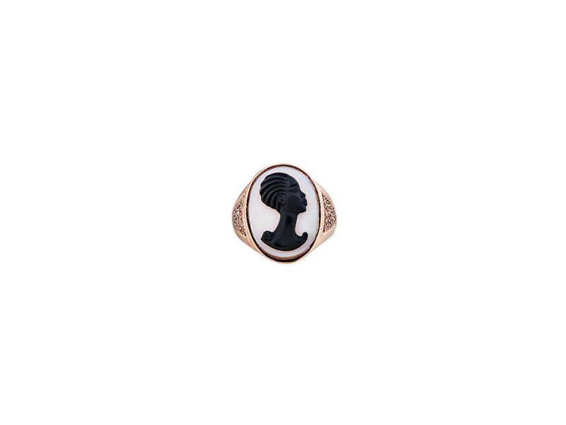 Jacquie Aiche Carved agate robyn cameo ring mounted on 14k rose gold  3125 $