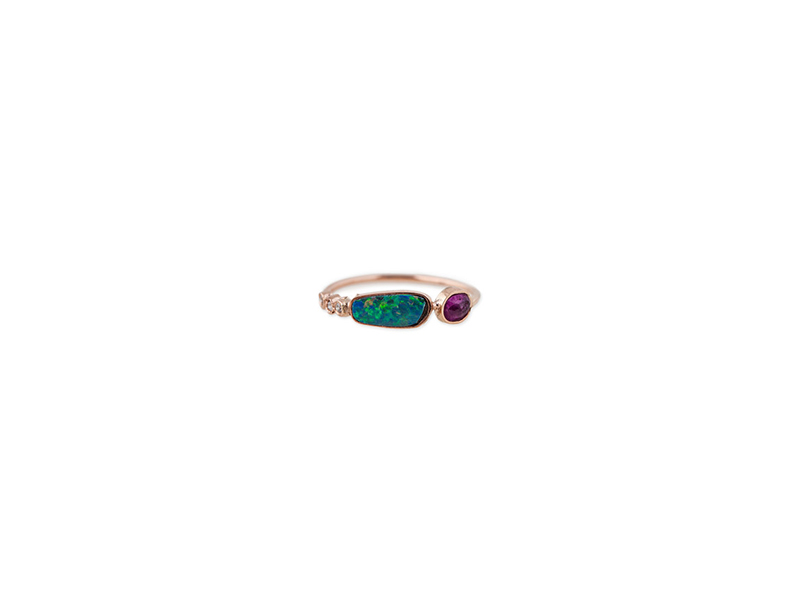 Jacquie Aiche 3 diamond bezel opal slice and ruby bezel ring 965 $