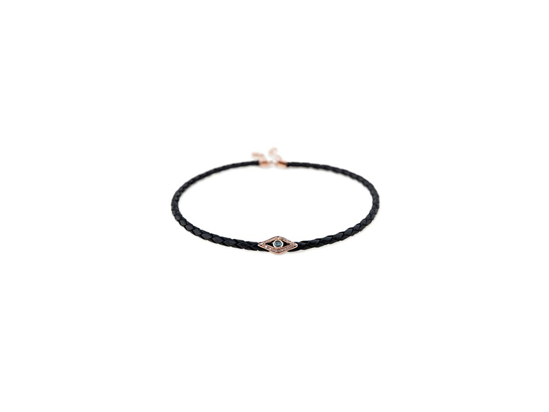 Jacquie Aiche Blue diamond eye choker in leather with a center pave diamond eye 1'378 $