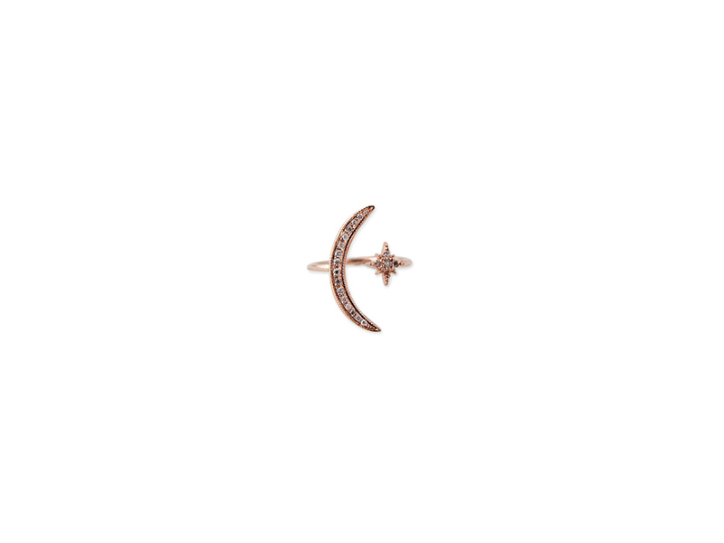 Jacquie Aiche Moon + shining star ring in 14k rose gold 1375 $