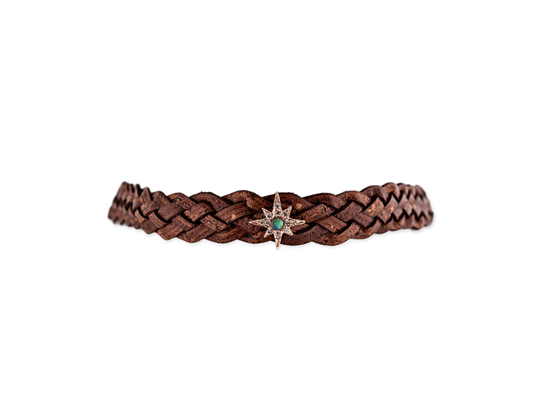 Jacquie Aiche Rose gold pave opal center shining star large brown braided leather choker