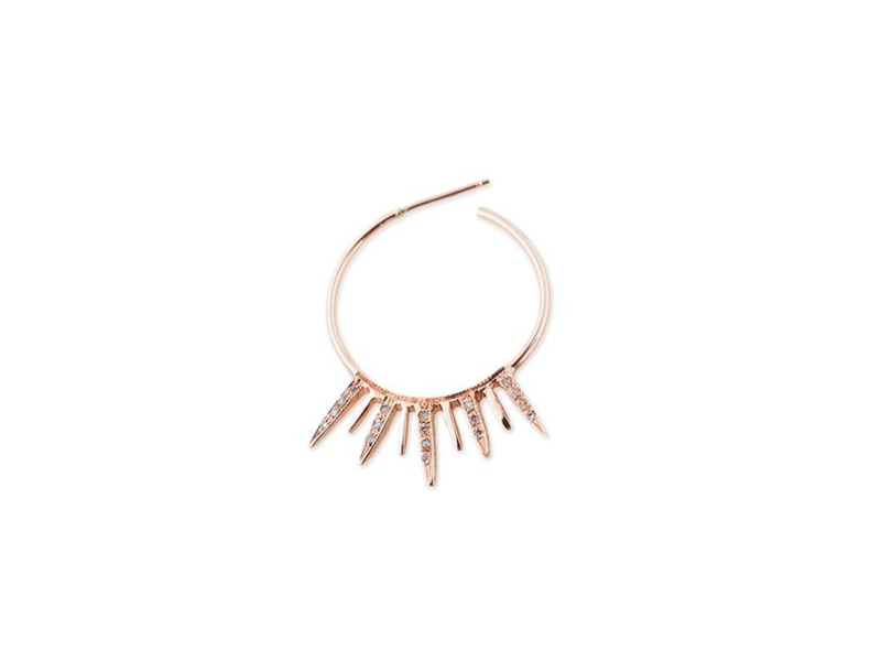 Jacquie Aiche Starburst hoop earring mounted on 14 k rose gold 1315 $