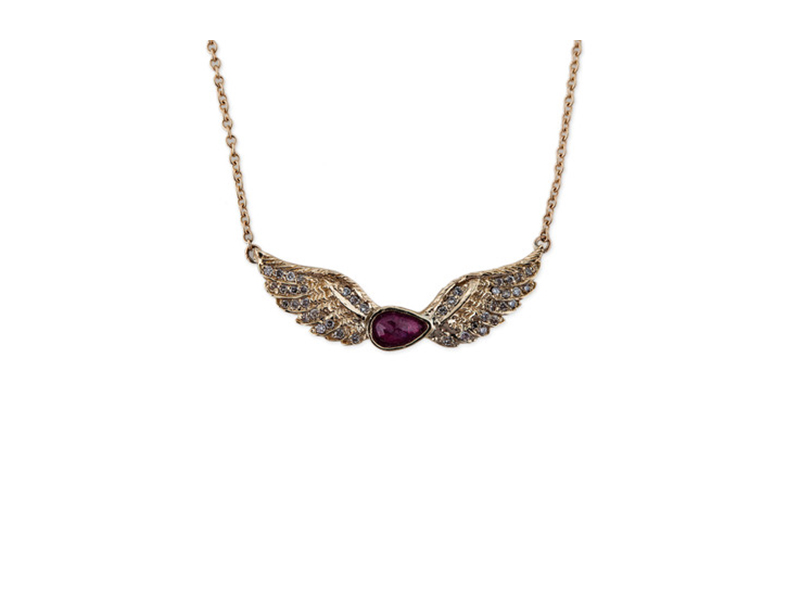 Jacquie Aiche Tear drop ruby pave diamond wing necklace 2190 $