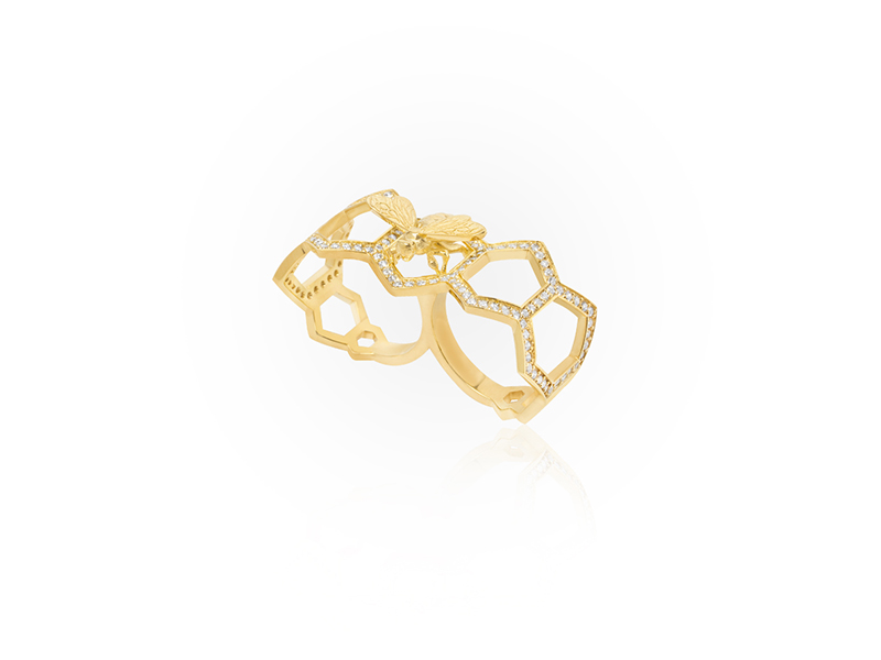 Jason of Beverly Hills The Honeycomb ring mounted on yellow gold with white diamonds