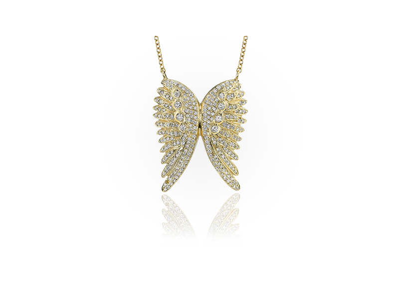 Jason of Beverly Hills The Spreading Angel Wing pendant mounted on yellow gold with white diamonds
