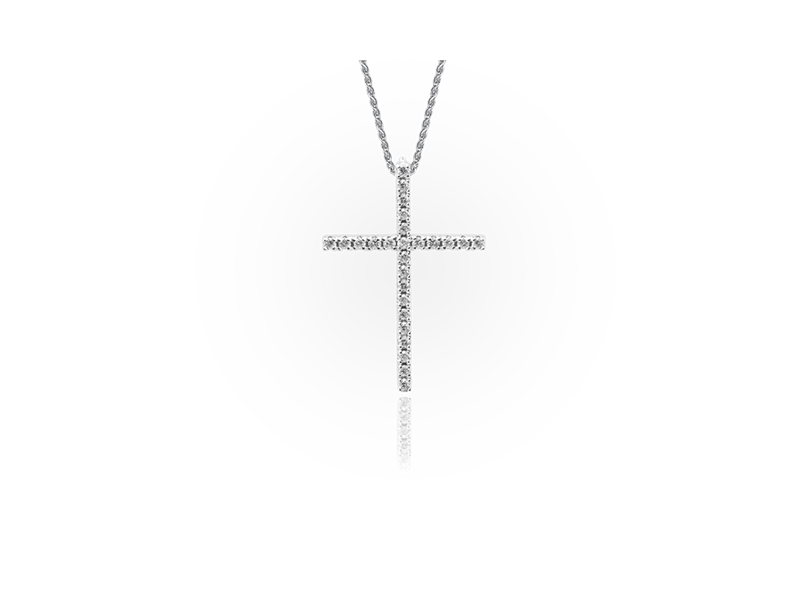 Jason of Beverly Hills The Thin Cross pendant mounted on white gold with white diamonds