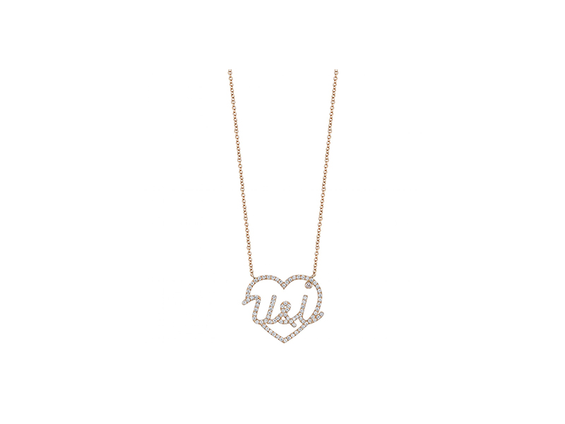 Jean Dousset Toi & moi diamonds pendant mounted on rose gold with diamonds - 2'800 $